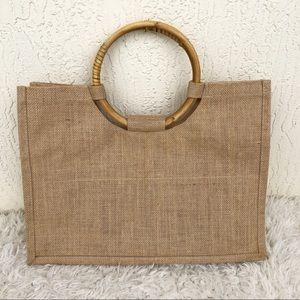 Handbags - Burlap Straw Tote Bag!